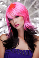 Dl magic roseo black shallow pink straight hair wig stubbiness 0187