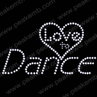 Hot Sale Bling Love To Dance Crystal Appliques Rhinestone Iron On Transfers Hot Fix Motif Design Free Dhl Shipping 50Pcs/Lot