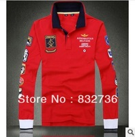 Fall 2013 Brand Design Polo Men Long Sleeve T-shirt 100% Cotton Red and White Free Shipping