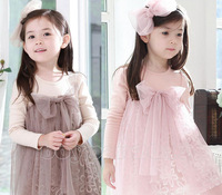 Free Shipping New Kids Toddlers Girls Princess Long Sleeve Cotton Tulle Top Tutu Dress Sz2-7Y