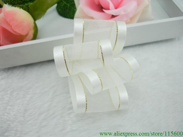 1.5 Inch Satin Edged Organza Ribbon in White with a Metallic Gold Line Next to the Satin Edges,Free Shipping(China (Mainland))