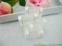1.5 Inch Satin Edged Organza Ribbon in White with a Metallic Gold Line Next to the Satin Edges,Free Shipping