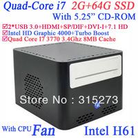 "Intel Quad Core I7 3770 3.4Ghz micro atx with 5.25"" CD-ROM 2G RAM 64G SSD industrial mini pc computers"