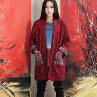 [LYNETTE'S CHINOISERIE - L.wang ] vintage autumn claretred loose thickening woolen medium-long cardigan t347