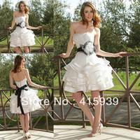 High quality strapless lace up organza black sash knee length short wedding dress for bride HS111