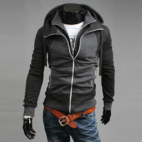 VOGUE Stylish Men's Color Block Faux Two Piece Zipper Sweater Men Casual Sweatershirts Asian:M-XXL