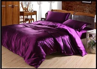 Deep purple luxury silk satin bedding sets for king size queen full twin duvet cover bedspread bed in a bag sheets bedroom quilt