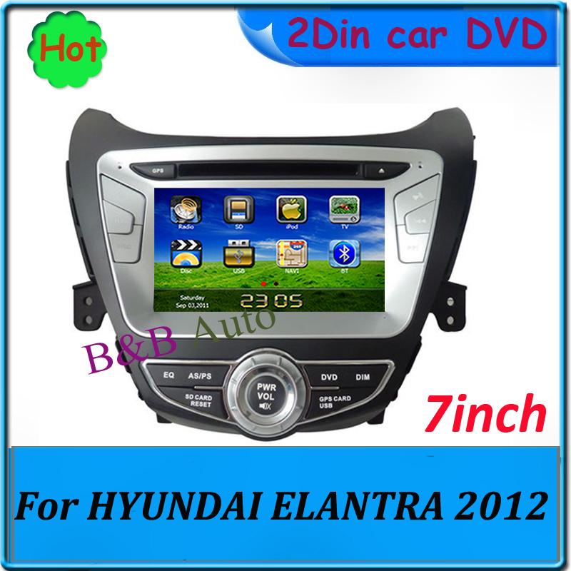 dvd 2 DIN 7 inch TFT LCD Touch screen Car DVD player Auto monitor In dash Car Radio Car GPS PC For Hyundai Elantra 2012 2013(China (Mainland))