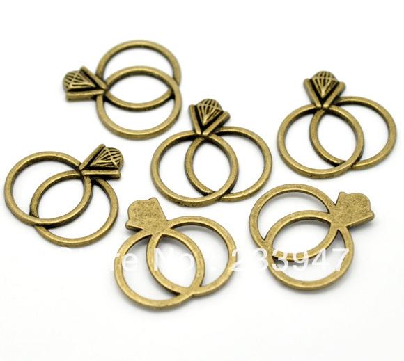 Free Shipping 150pcs Antique Bronze Wedding Ring Charm Pendants 25x25mm Jewelry Findings Wholesale(China (Mainland))