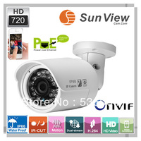 Free shipping SunView new model reached 720P HD IP camera Support POE waterproof IR bullet ip mini camera(SV-B1068FPOE)