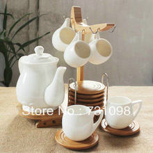 Free shipping by Fedex! 6pcs tea set,  porcelain coffee set with stand, wood plate
