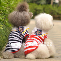 Pet Puppy Summer Dog Doggie Clothes Polo Striped Top T Shirt Apparel Costume LX0082 Free shipping&DropShipping