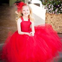 Sunlun Free Shipping  cascading skirt red child dress evening dress wedding dress flower girl skirt princess dress