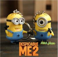 Cartoon Despicable Me 3D Eye Small Minions Figure PVC Toy Kid toy Key Chain Free Shipping  (2 pcs/set)