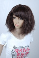 Dark Brown Synthetic Hair Full Wig Fashion Party Women Wigs free shipping