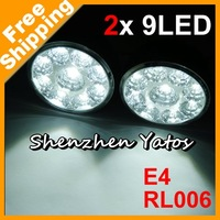 Retail Round White 9 LED Car Auto DRL Daytime Running Day Driving Fog Light Lamp