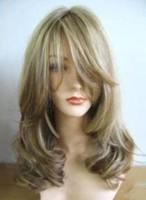 charming new Stylish blonde mix long wig/wigs +weaving cap