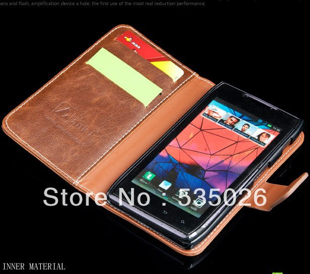 High grade leather case XT912 XT910 MAXX DROID RAZR,Wallet case with retail box, High quality,Free shipping(China (Mainland))