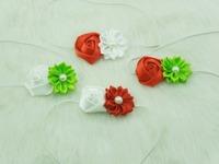 Baby Christmas headband satin ribbon flower headbands DIY layered flower with Pearl on skinny elastic Headband 40pcs/lot