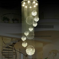 Free shipping,large hotel lobby crystal chandelier,stairs crystal chandelier,crystal ball chandelier  D800*H1800mm
