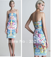Hot  Salling Sexy Backless  Floral Print  Women Off Shoulder Bandage Dress
