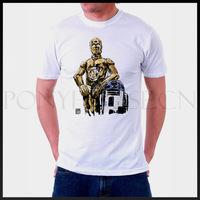 Free shipping BUDDY R2D2 C3PO Star Wars T-shirt cotton Lycra top Fashion Brand t shirt men new DIY high quality