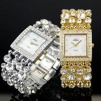 Women's Stylish Golden,Silver, Black  Fashion Lady Crystal Party Bracelet Bangle Dress Watch,Free Shipping