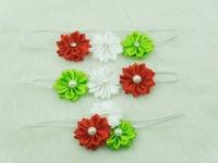 Baby Triple satin ribbon flower headbands  flower with Pearl on skinny elastic Headband for Christmas 30pcs/lot Free Shipping