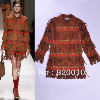 Free Shipping 2013 Autumn Winter European American Women's Brown Velvet Embroidered Fringed Heavy Coats Made Outwear Jacket