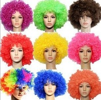 In Stock!!World Cup Clown Wig Masquerade Halloween Christmas Party Wigs Colorful Explosion Head Wigs Funny Prop Weight: 130g