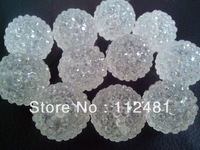 Fashion Transparent CLear  26MM 50PCS Resin Rhinestone  Ball Beads for Chunky Necklace Jewelry