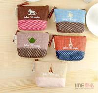 Free Shipping 5 Pieces/Lot  Fashion Zipper Coin Purse Wallet purse Cartoon Linen Fabric coin wallet wholesale