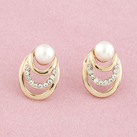 (Min order $15,can mix) Free Shipping Bright Metal Fashion Jewelry Gold Earring Rhinestone/Pearl Elegant Style Earrings.EA121