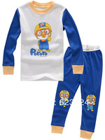 G7337  Free shipping (6sets/lot) 100% cotton Santa Claus design, long-sleeved t-shirt + pants children's sleepwear