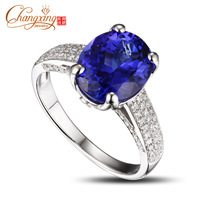 Natural 8x10mm Oval Shape 2.95ct Tanzanite Solid 14K White Gold 0.53ct Diamond Engagement Ring Free Shipping New