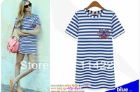 New Summer Fashion 2013 Women Short Sleeve Navy Striped Cotton Tiger Embroidery Long Casual T shirt top tees High Quality