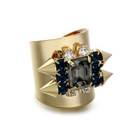 2013 Fashion NEW personality rivet gold rings crystal width vintage metal women ring jewelry dropshipping