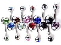 10pcs Wholesale Bulk Crystal Stainless Steel Double Gem Belly Bar Rings Body Jewelry Piercings Unisex Free Shipping