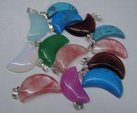 FREE SHIPPING wholesale lots 50pcs natural stone  Moon Necklace pendants