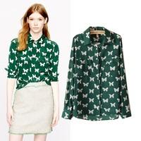 Free shipping 2013 Long SleeveOL ZA Chiffon Shirt   Women's dress Casual   Blouse  formal  clothes flower