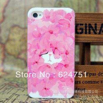 Small fresh for iPhone5 Apple iphone4S phone shell protective sleeve pink painted hide and seek, manufacturers, wholesale
