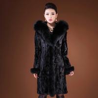 2014 luxury genuine piece women mink fur coat long design coat big fox fur collar female winter hot warm lady style free ship
