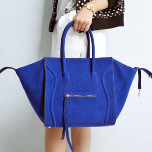 four colors!! new 2014 high quality Scrub handbag Frosted genuine leather the phantom smiley bag patchwork handbag Large bag
