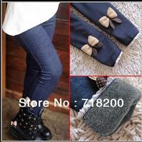 wholesale 5pcs/lot 2013 kids girls jean bow pants cotton cashmere pants elastic waist legging warm pants winter