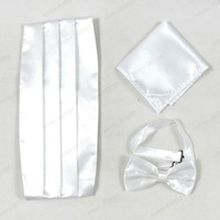 2014 Men Top Grade Christmas Gift White Cummerbund sets,Hot Sale Spring And Autumn Bow-tie,Handkerchief And Cummerbund  Sets