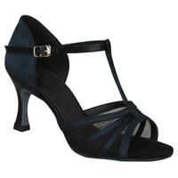 Black silk satin Latin dance shoes women's dance shoes Latin shoes