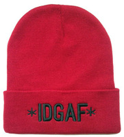 NEW STYLE.Winter and autumn hats.Boys and Girl Knitting wool IDGAF Beanies hats. Red,black and gray snowboard beanie.