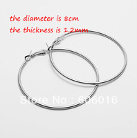 100pcs/lot Nice Dull Silver/Gold Color 8CM Iron Women Hoop Earrings Free shipping! e128