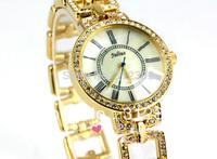 Authentic Korea Brand Julius Fashion Lady Watch Round Stainless Steel Band Bracelet Bangle Crystal Roman Numberals JA-645