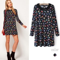 Uk Fashion Brands Dresses Small Bow Flowers Printed Womens Blouse Dress
